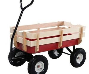NEW Outdoor Garden Cart Pulling Wagon with Detachable Wood Railing Lightweight, an item from the 'Garden Tools' hand-picked list