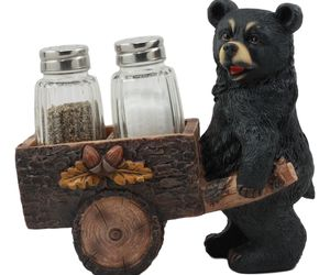 Black Bear Pushing Vintage Wagon Cart Salt And Pepper Shakers Holder #GFT02, an item from the 'Community Picks: Invite An Animal to Your Table' hand-picked list