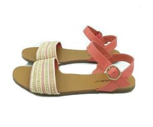 Breckelle's Women's Peach and Gold Studded Flat Sandals Size 7 Ankle Strap, an item from the 'Sweet Summer Sandals' hand-picked list