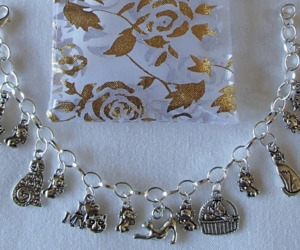 Kittens Cats Mouse Mice Theme Charm Bracelet SP Handcrafted  + Organza Gift Bag , an item from the 'Preying Kitties...' hand-picked list