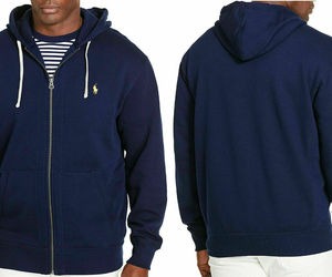 Polo Ralph Lauren Men's Big & Tall Cotton-Blend-Fleece Hoodie Cruise Navy 2XLT, an item from the 'Sherpa and Fleece Hoodies' hand-picked list