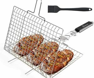 WolfWise Stainless Steel Portable BBQ Grilling Basket Fish Vegetable Steak BRUSH, an item from the 'Grill Power' hand-picked list