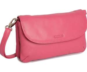 SADDLER AUDREY Real Leather Cross Body Clutch with Detachable Strap - Fuchsia, an item from the 'Cute Clutches' hand-picked list