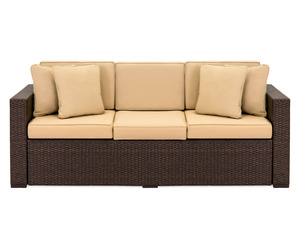 Outdoor Wicker Sofa Couch Patio Furniture w/ Steel Frame and Removable Cushions , an item from the 'Summer Outdoor Furniture' hand-picked list