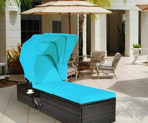 Outdoor Chaise Lounge Chair with Folding Canopy, an item from the 'Outdoor Oasis' hand-picked list
