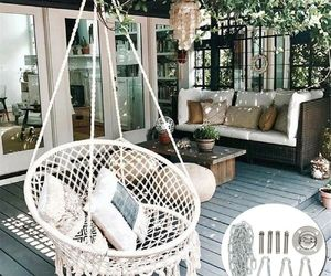 Outdoor Indoor Garden Cotton Hanging Rope Air/Sky Chair Swing Beige Hammock, an item from the 'Outdoor Oasis' hand-picked list
