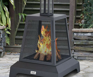 Outdoor Fireplace Chiminea Square Wood Burning Fire Pit Metal Steel Black Matte, an item from the 'Outdoor Oasis' hand-picked list
