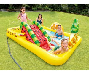 INTEX FUN N FRUITY INFLATABLE PLAY CENTER WITH WATER SLIDE NEW IN BOX, an item from the 'Community Picks: Pool Party' hand-picked list