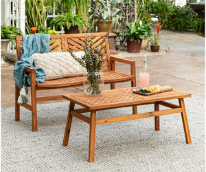 Outdoor Patio Chat Set Solid Wood Acacia 2-PC Balcony Garden Bench Coffee Table, an item from the 'Outdoor Oasis' hand-picked list