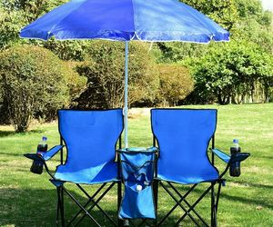 NEW Portable Folding Picnic Camping Beach Double Chair with Umbrella Cooler, an item from the 'Juneteenth Celebrations' hand-picked list