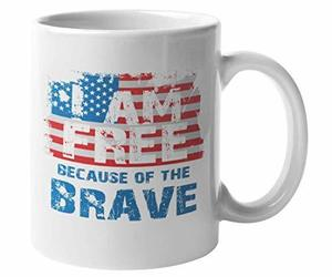 I Am Free Because of the Brave with American Flag, Memorial Day Coffee & Tea Mug, an item from the 'Memorial Day - A Time to Remember' hand-picked list