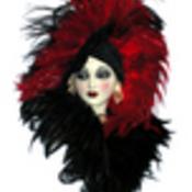 Art deco mask lady red thumb175
