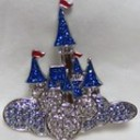 Disney where dreams castle swarovki pin front thumb128