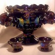 Mosser glass carnival cherry miniature punch bowl set thumb175