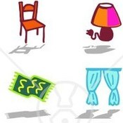58082 royalty free rf clipart illustration of a digital collage of furniture and household items thumb175