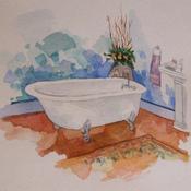 Watercolor clawfoot tub 1 thumb175