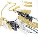Np06 sexy multitone mesh  cz chains necklace and earrings set thumb128