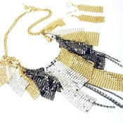 Np06 sexy multitone mesh  cz chains necklace and earrings set thumb175