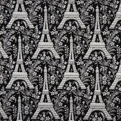 Black michael miller fabric eiffel tower with flowers 160915 2 thumb175