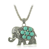 T b elephant b font turquoise pendant necklace for women vintage silver chain necklaces thumb175