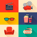 Stock illustration 76275689 modern cinema icons set thumb128