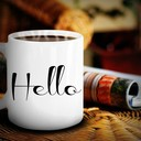 Hello mug wicker table thumb128