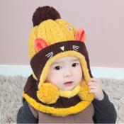 winter warm cute cat cartoon protecte ear hat scarf set cute knitted cotton hats set 1 thumb175