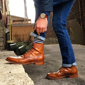 Handmade men tan ankle boots  wingtip lace up boots for denim pants  dress boots thumb175